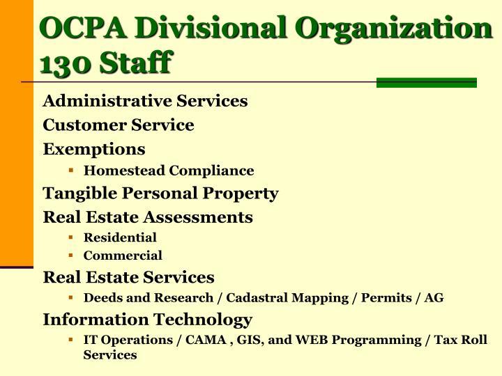 OCPA Divisional Organization