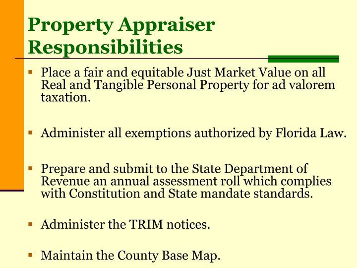 Property Appraiser Responsibilities