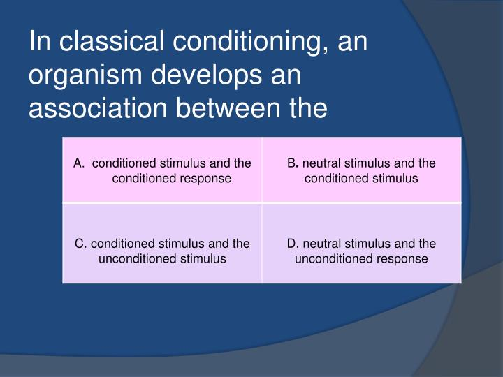 In classical conditioning an organism develops an association between the
