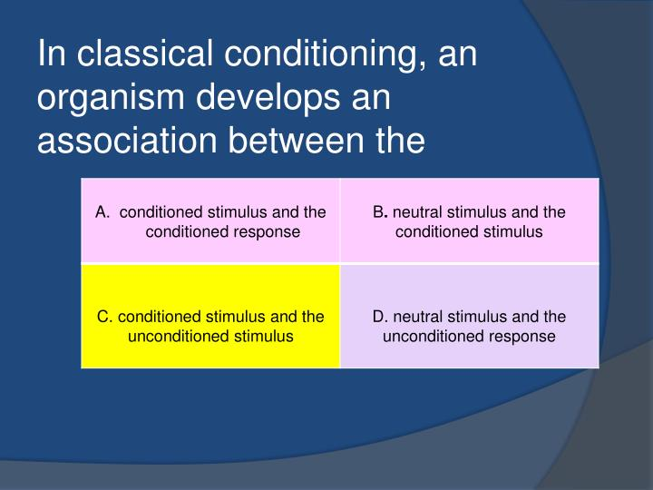In classical conditioning an organism develops an association between the1