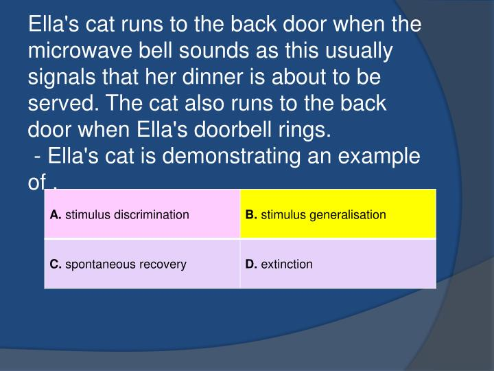 Ella's cat runs to the back door when the microwave bell sounds as this usually signals that her dinner is about to be served. The cat also runs to the back door when Ella's doorbell rings.