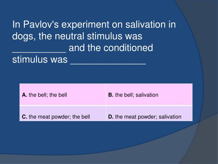 In Pavlov's experiment on salivation in dogs, the neutral stimulus was __________ and the conditioned stimulus was ______________