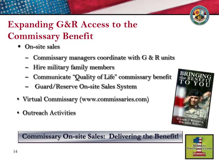 Expanding G&R Access to the Commissary Benefit