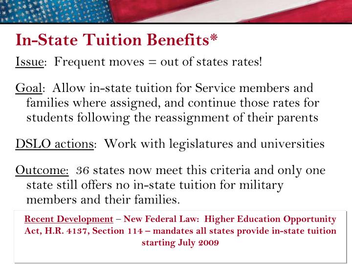 In-State Tuition Benefits*