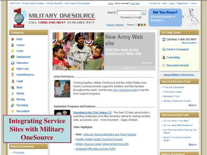 Integrating Service Sites with Military OneSource