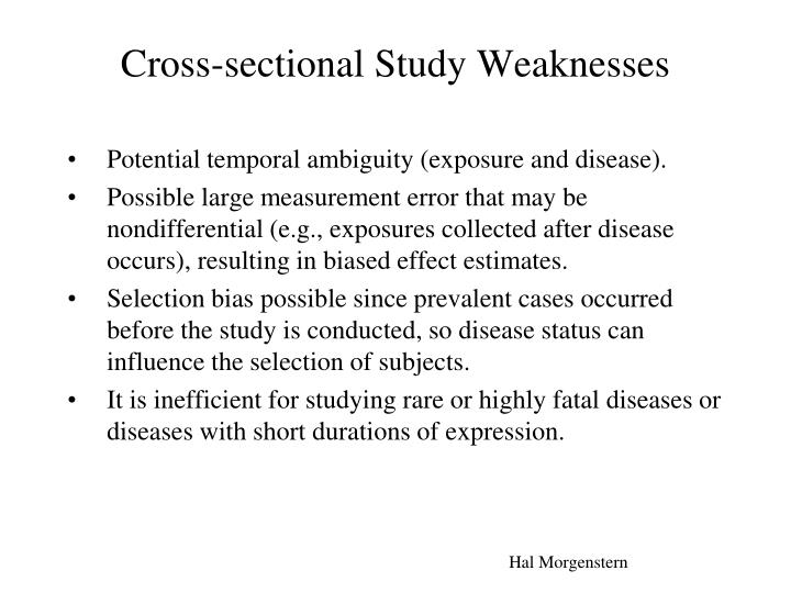 Cross-sectional Study Weaknesses