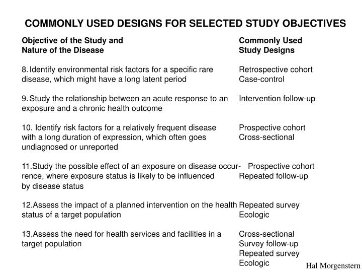 COMMONLY USED DESIGNS FOR SELECTED STUDY OBJECTIVES