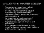 grade system knowledge translation