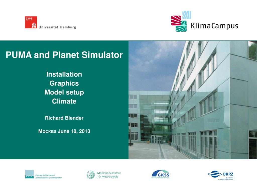 puma and planet simulator installation graphics model setup climate richard blender june 18 2010