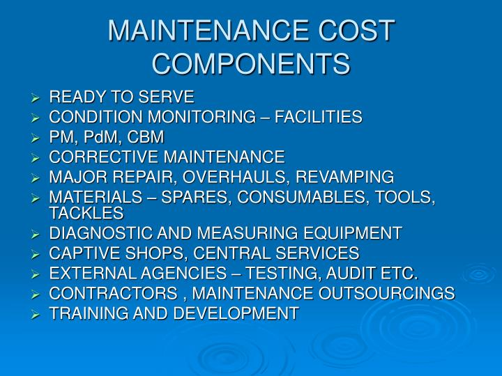 MAINTENANCE COST COMPONENTS
