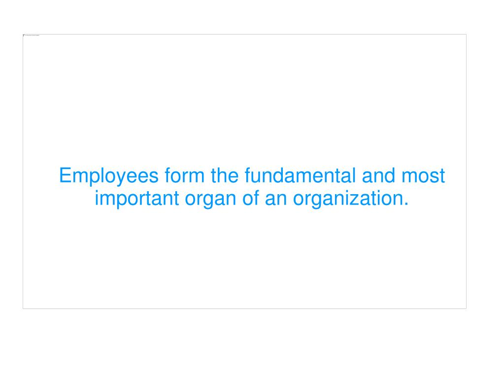 Employees form the fundamental and most important organ of an organization.