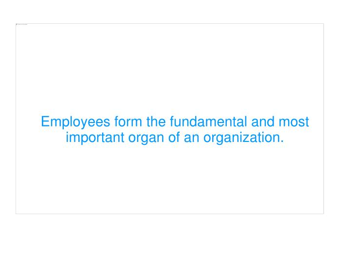 Employees form the fundamental and most important organ of an organization