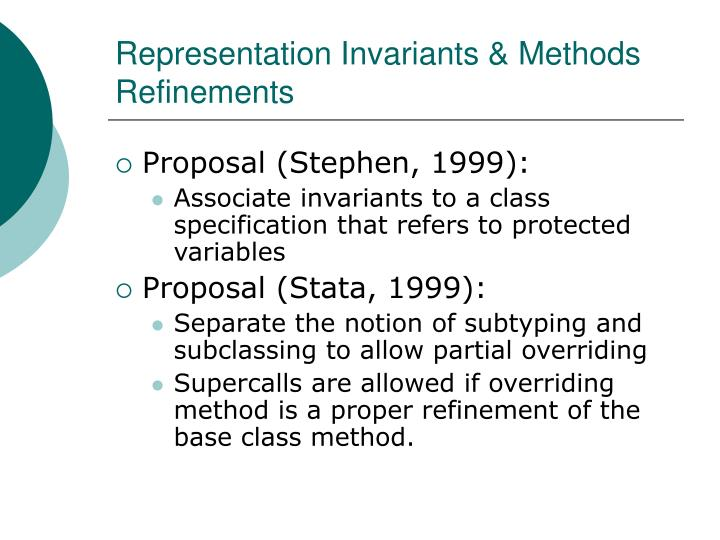 Representation Invariants & Methods Refinements