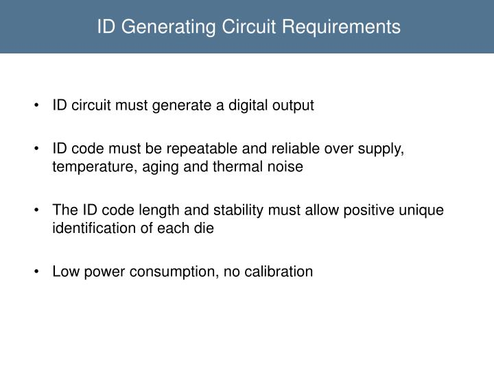 ID Generating Circuit Requirements
