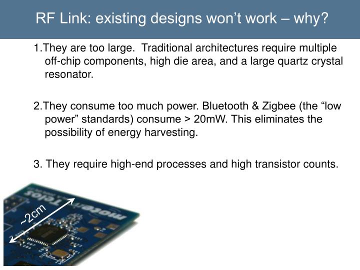 RF Link: existing designs won't work – why?