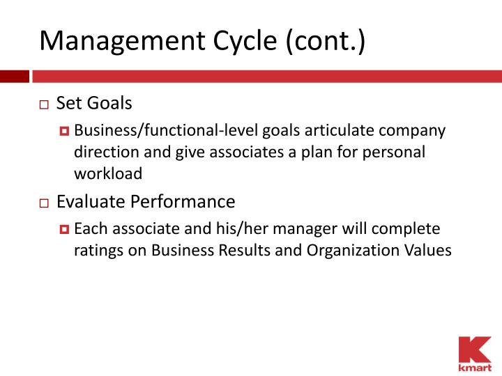 Management Cycle (cont.)