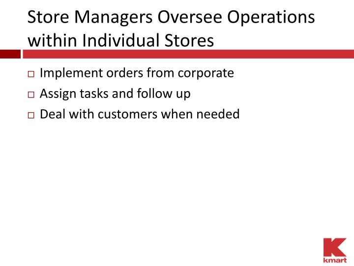 Store Managers Oversee Operations within Individual Stores