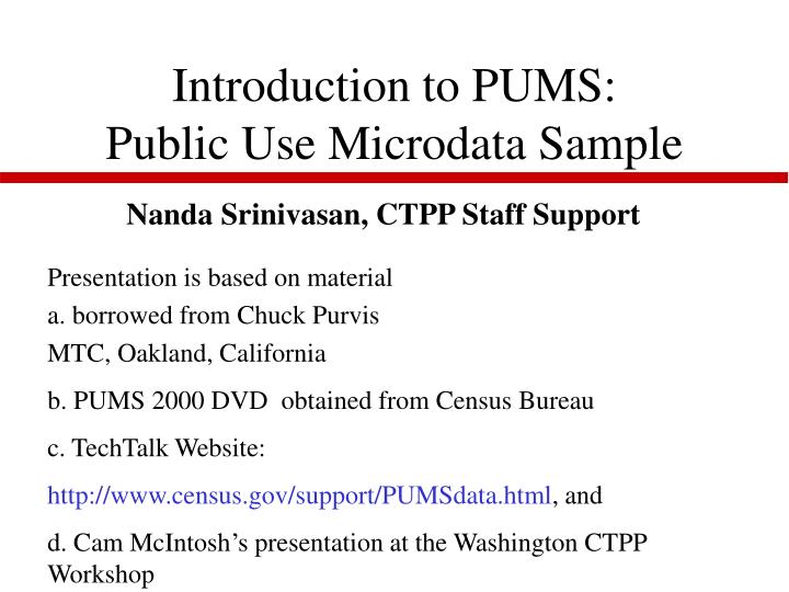 Introduction to pums public use microdata sample