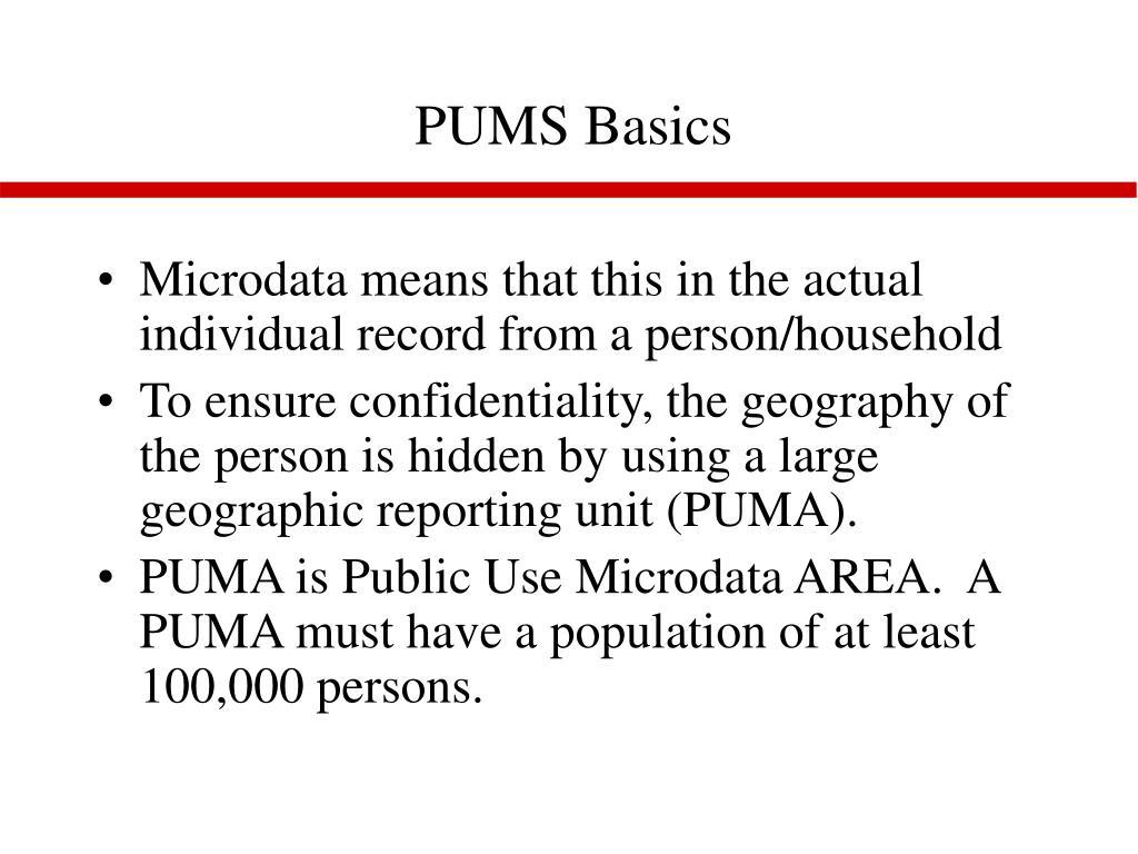PUMS Basics