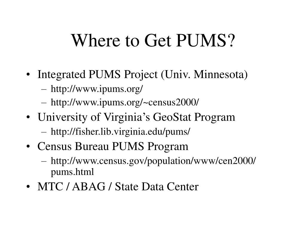 Where to Get PUMS?