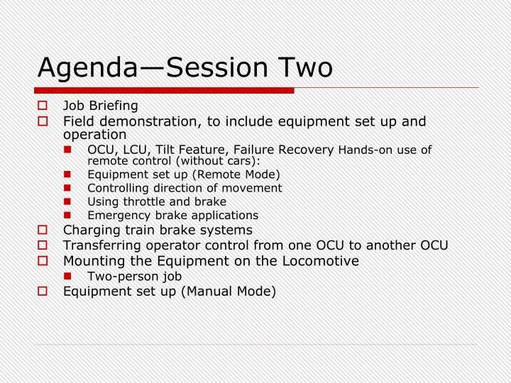 Agenda—Session Two