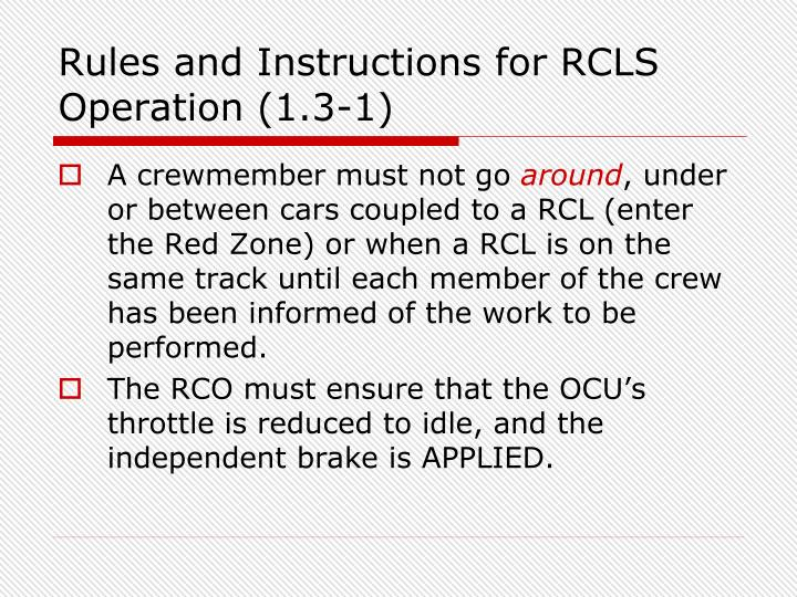 Rules and Instructions for RCLS Operation (1.3-1)