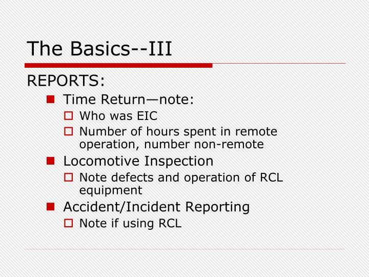 The Basics--III