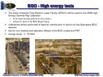 bgo high energy tests
