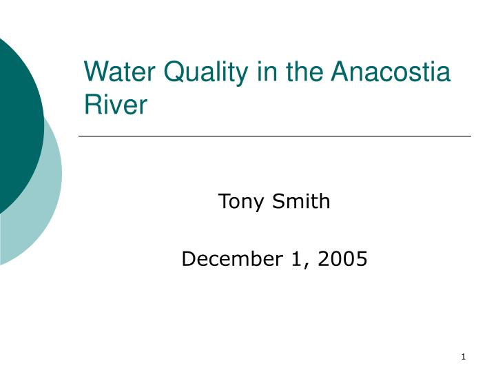 water quality in the anacostia river