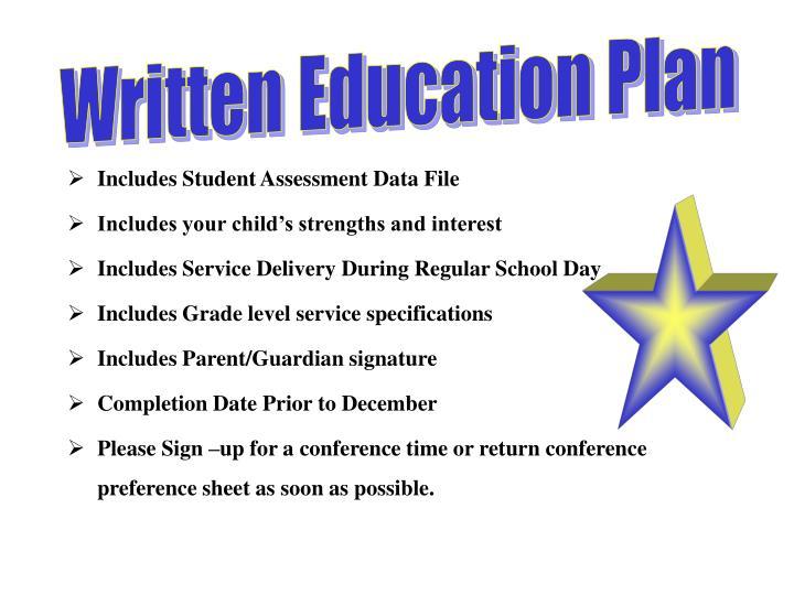 Written Education Plan