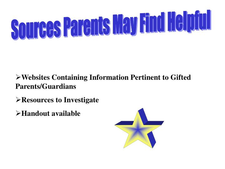Sources Parents May Find Helpful