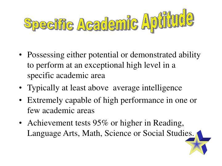 Specific Academic Aptitude