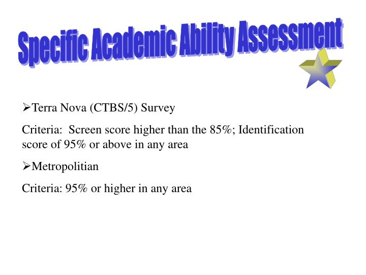 Specific Academic Ability Assessment