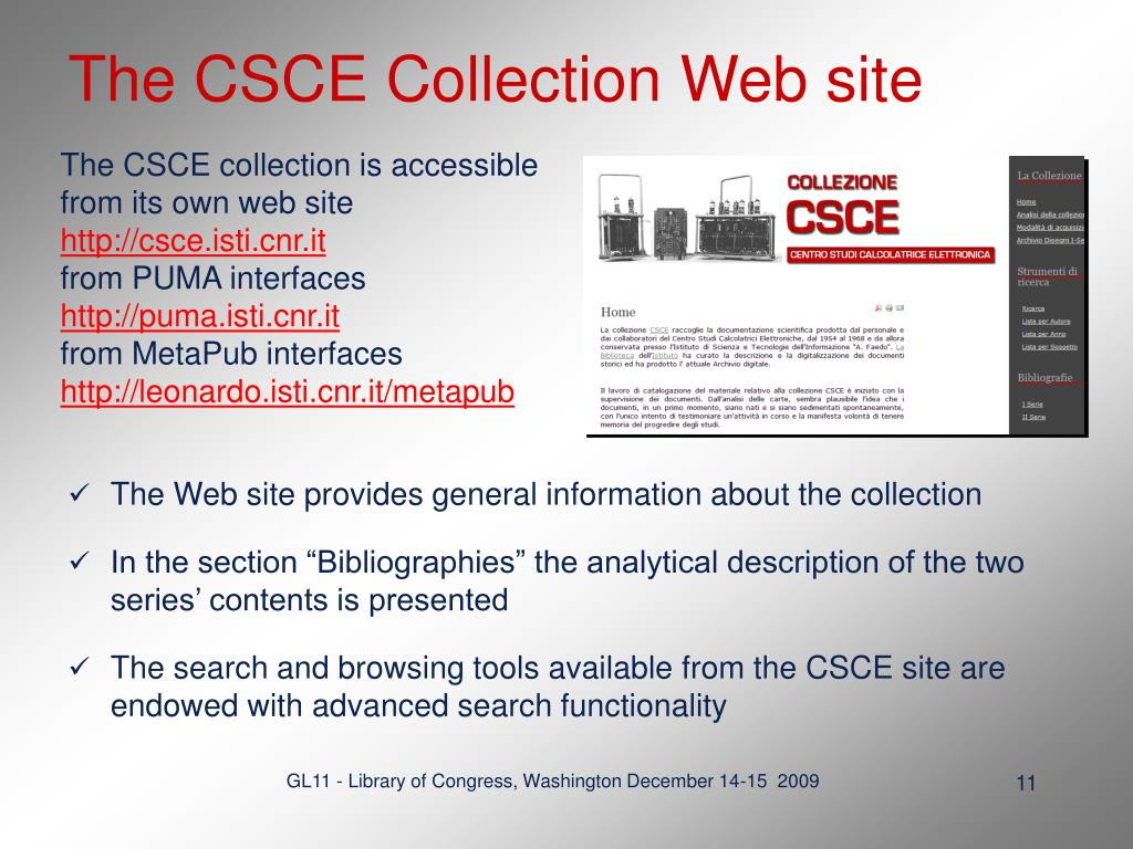 The CSCE Collection Web site