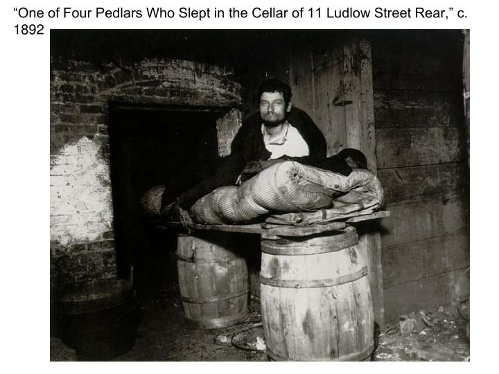 """""""One of Four Pedlars Who Slept in the Cellar of 11 Ludlow Street Rear,"""" c. 1892"""