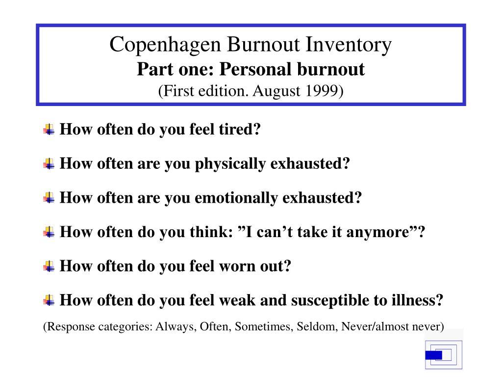 Copenhagen Burnout Inventory