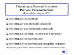copenhagen burnout inventory part one personal burnout first edition august 1999