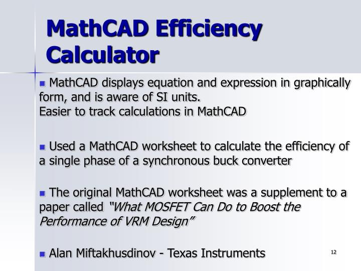 efficiency calculation worksheet