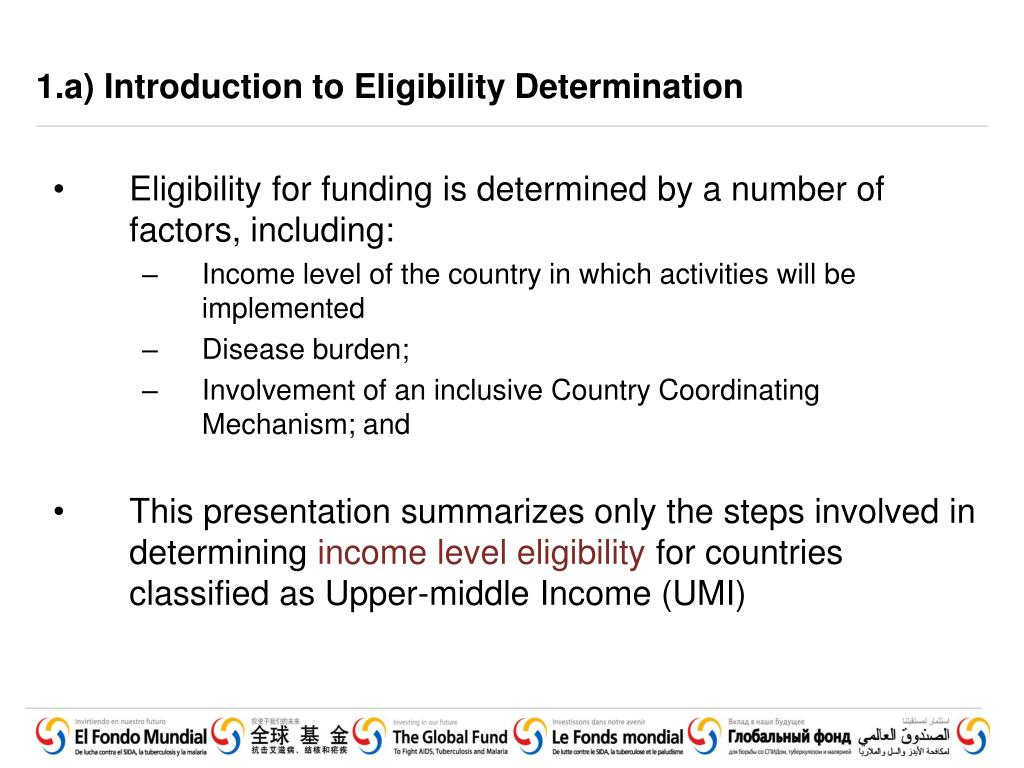 1.a) Introduction to Eligibility Determination