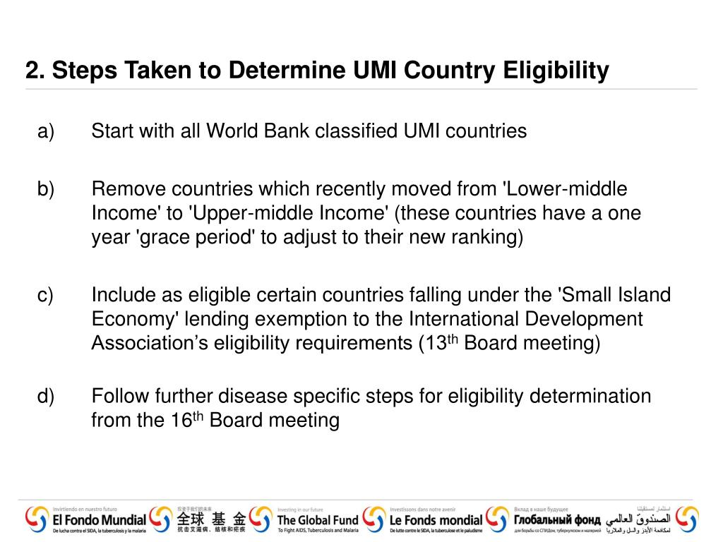 2. Steps Taken to Determine UMI Country Eligibility