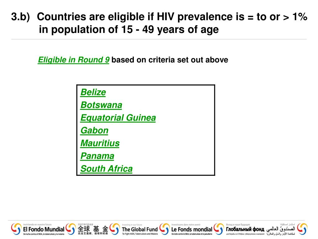 3.b) 	Countries are eligible if HIV prevalence is = to or > 1% in population of 15 - 49 years of age