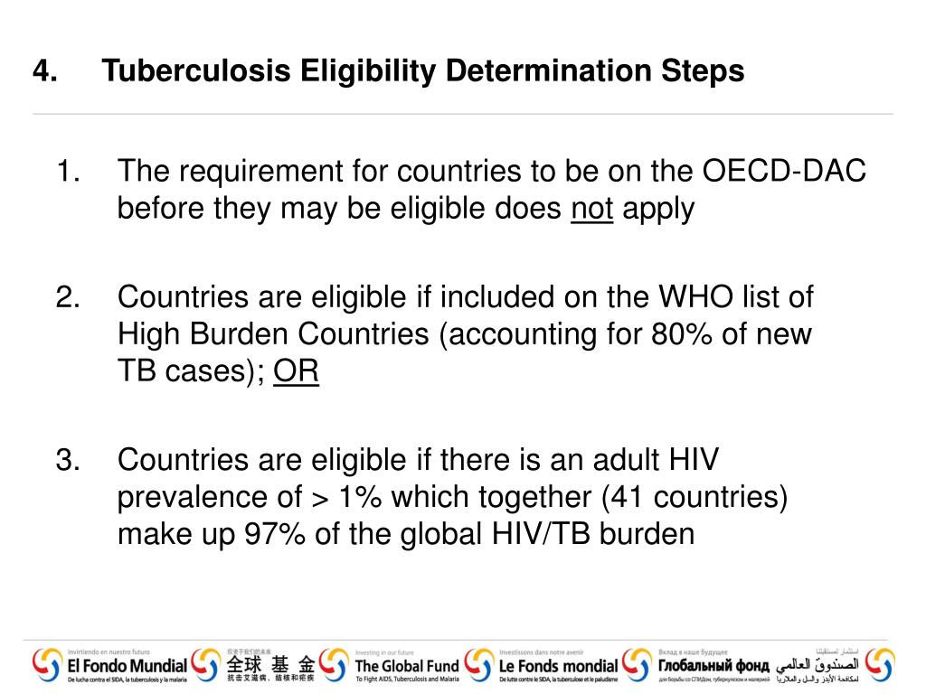 4. 	Tuberculosis Eligibility Determination Steps
