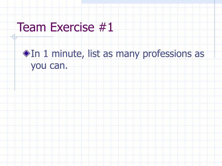 Team exercise 1