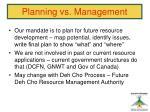 planning vs management