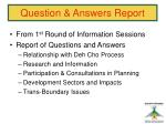 question answers report