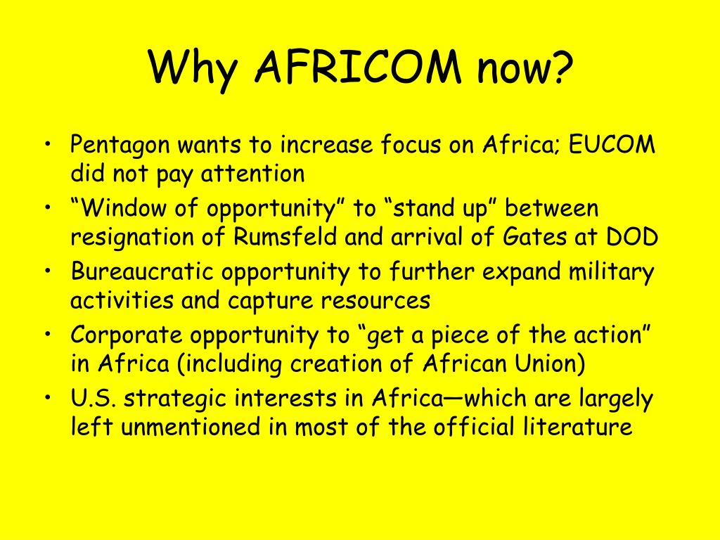 Why AFRICOM now?