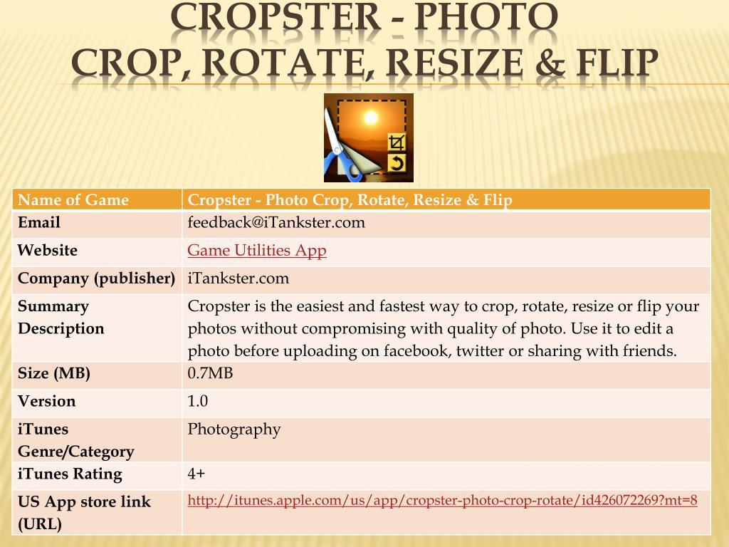 cropster photo crop rotate resize flip l.
