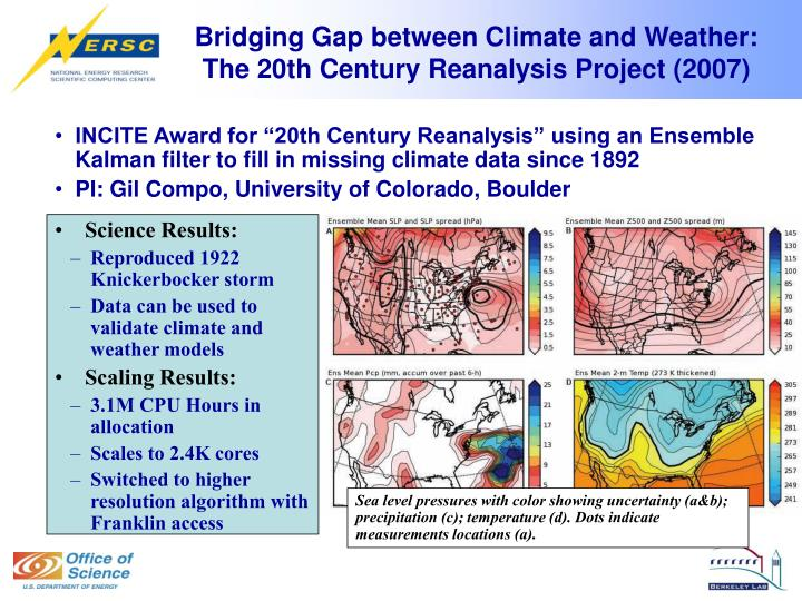 Bridging gap between climate and weather the 20th century reanalysis project 2007
