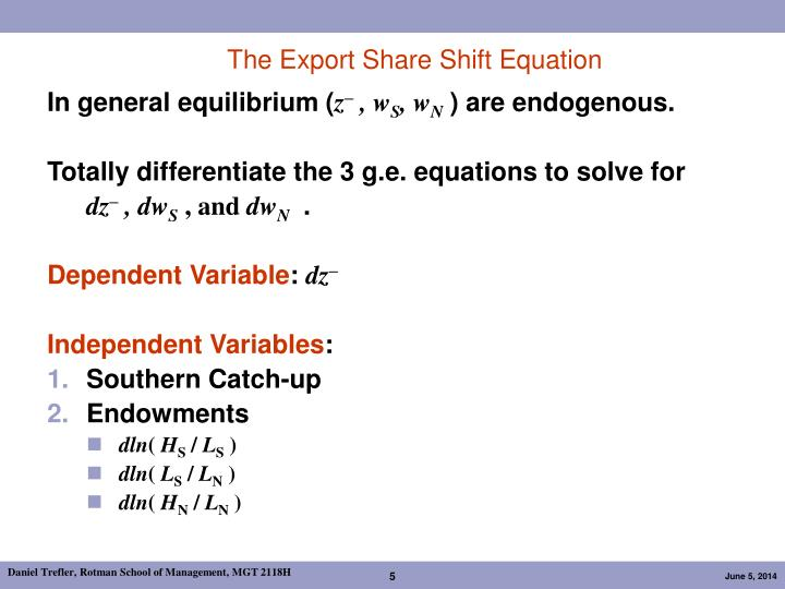 The Export Share Shift Equation