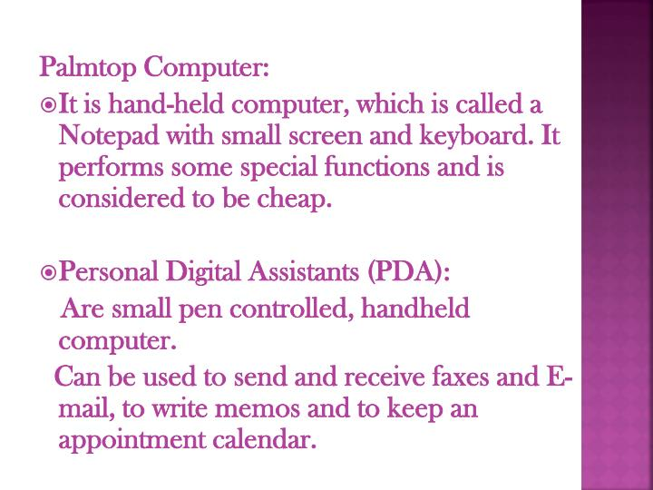 Palmtop Computer: